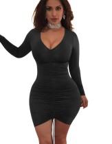 Vestido ajustado con pliegues sexy con mangas ZI_2247-4