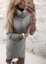 Vestido de suéter corto cuello de cobertura