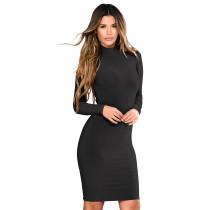 High Neck Plain Short Dress 28445-1