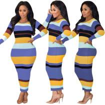 Vestido de rayas de rayas anchas multicolor