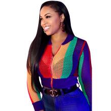 Jaqueta de malha multicolorida SY_8210