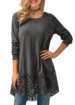 Long Sleeve Plain Top with Lace Hem
