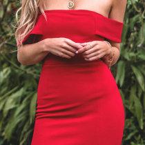 Seksi Kapalı Omuz Şık Elbise TE_2503-2