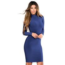 Vestido corto liso con cuello alto 28445-5