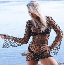 Coberturas de praia de rede de pesca com strass