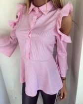 Blusa elegante con volantes de color rosa con volantes