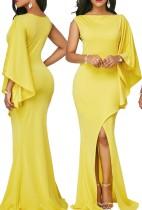 Vestido Largo Amarillo con Hema Envuelto y Manga Única