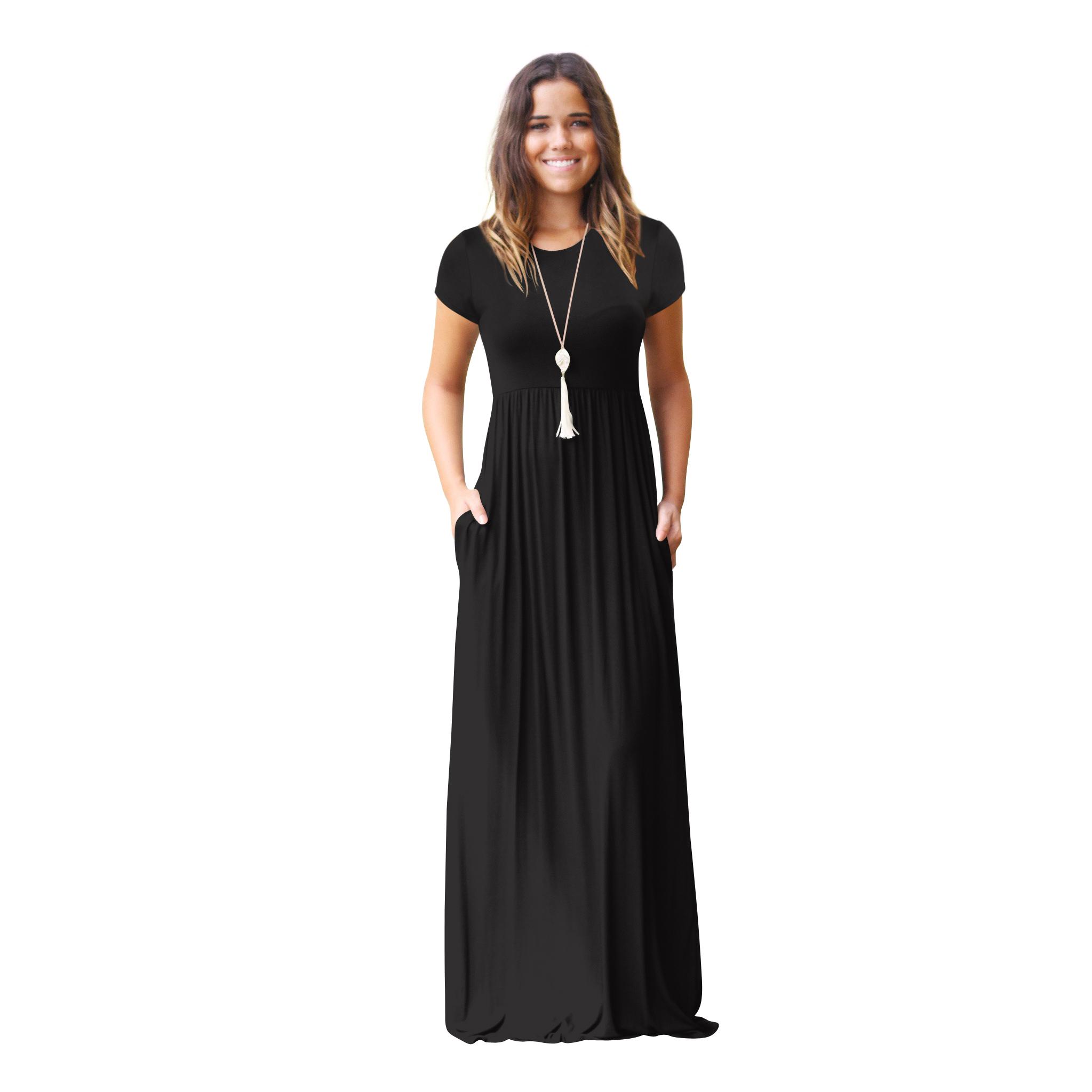 Wonderbaarlijk Groothandel maxi-jurk met korte mouwen en zakken   Wereldwijde minnaar OF-34