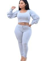 Top e pantaloni lunghi crop solidi sexy