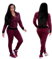 Plain Color Tracksuit with Contrast Bands