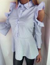 Gestreepte blauwe uitgesneden ruches chique blouse