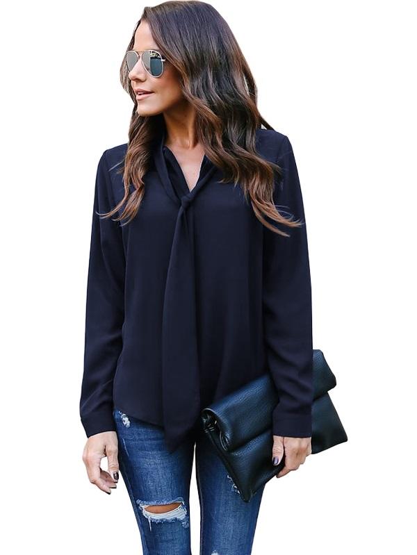 Hedendaags Groothandel effen chiffon blouse met stropdas   Wereldwijde minnaar CN-07