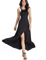 Ärmelloses blockiertes langes Kleid mit geteiltem Saum