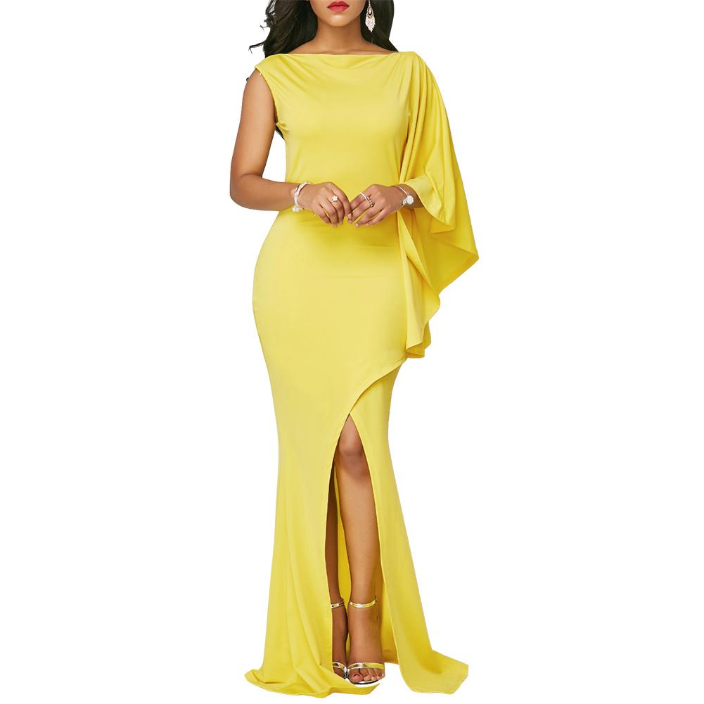 Gelbes langes Kleid mit eingewickeltem Hema und Einzelhülse