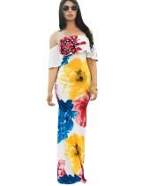 Off Shoulder Long Flower Dress