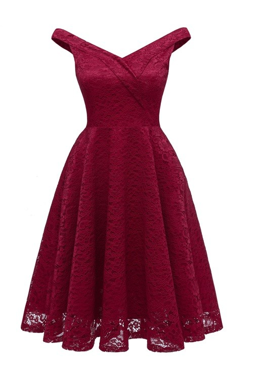 V-Neck Sleeveless Lace A-Line Dress