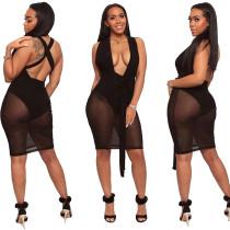 Vestido sexy negro club zambullida