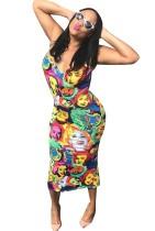 Buntes Gesicht Muster Print Kleid