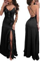 Sexy Black Ruffles Evening Dress with Cross Back