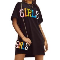 Vestido de camisa de impresión de la letra
