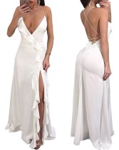 Sexy White Ruffles Evening Dress with Cross Back