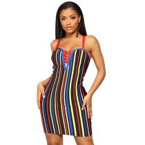 Vestido de tiras de colores con rayas del club