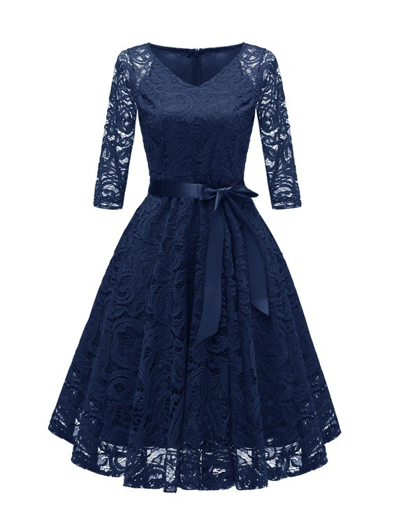 V-Neck A-Line Lace Dress with Sleeves