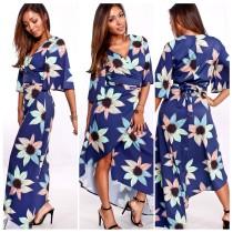 Vestido envuelto largo floral azul