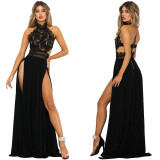 Lace Upper High Cut Sexy Long Evening Dress