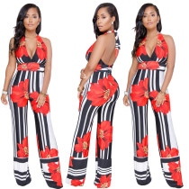 Stripped Flower Halfter Overall