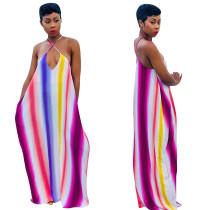 Vestido maxi halter rayas colorido
