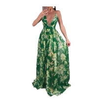 Deep-V Sexy Halter Flower Dress