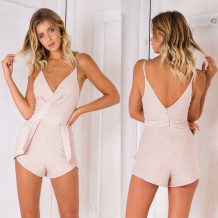 Plain Color Fitting Straps Rompers