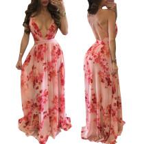 Vestido de flores con cuello halter profundo de V