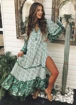 Robe romantique longue fleur verte profonde