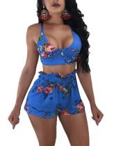Sujetador de flores sexy top y pantalones cortos con volantes