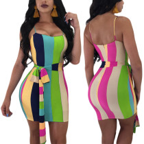 Vestido de tiras de rayas coloridas