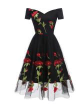 Vestido de fiesta negro rosa flor romantica