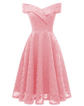 Pink Lace A-Line Cocktail Dress
