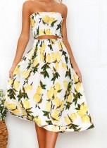 Haut bandeau à fleurs et jupe longue