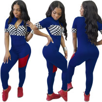 Zipped Up Block Color Fitting Jumpsuit