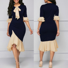 Block Color Office Lady Elegant Dress