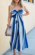 Sexy Strapless Stripes Holiday Jumpsuit