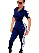 Zipped Up Sportive Jumpsuit with Contrast Bands
