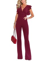 Deep-V Sexy Plain Jumpsuit with Ruffle Cuffs