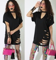Solid Color Keyhole Ripped Long Shirt