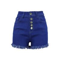 Hohe Taille Denim Shorts mit Fransen Details