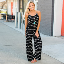 Lazy Straps Stripped Jumpsuit