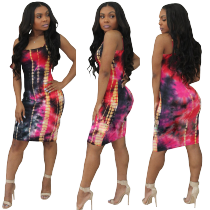 Vestido ajustado con estampado colorido de correas
