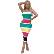 Wide Stripped Colorful Tube Dress
